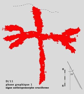 Signe anthropomorphe cruciforme à l'abri Otello (Bouches du Rhône)